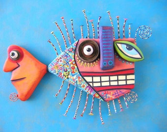 Picasso's Goldfish, Original Found Object Wall Sculpture, Fish Wall Art, Outsider Art, Wood Carving, Abstract Sculpture, By Fig Jam Studio