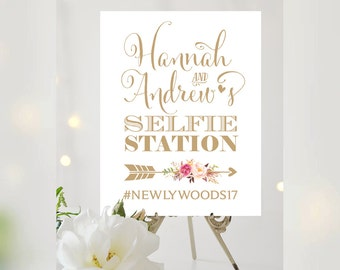 Selfie Station Sign | Various Sizes | Add Your Names and Hashtag | Bella | Antique Gold | Bouquet Options | I Create and You Print