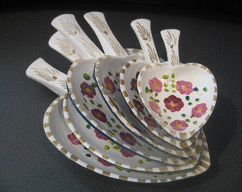 Vintage Hand Painted Wooden Heart Shaped Bowls With Handles, Set of Six