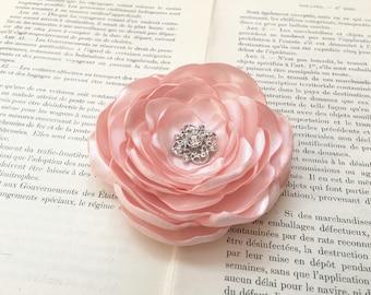 Blush Pink Flower Hair Clip.Blush PInk Flower Brooch.Pin.Blush PInk Headpiece.Pink Satin flower.Wedding Hair Piece.Corsage.Blush Hair Piece