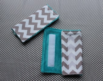 Car Seat Strap Covers Grey Chevron With Blues Greens