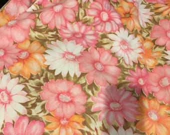 Standard Floral Pillowcase pair Vintage 60s pink yellow rose shabby chic retro