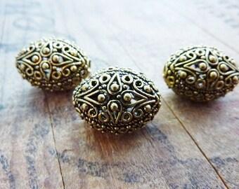 Antiqued Gold Ornate Filigree Beads (2) IG415