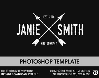 Photography Logo Instant Download Vintage Rustic Hipster Arrows Photographer Marketing Photoshop PSD Logo File DIY Logo - 011