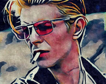David Bowie Art Print | The Thin White Duke Digital Art Print | Matte Paper Print | Gouache Painting | Music Poster Art