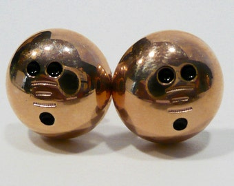 Vintage Hickok Gold Tone Bowling Ball Cufflinks