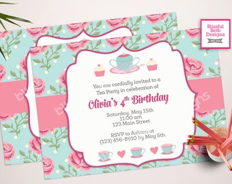 SHABBY CHIC TEA, Tea Party Birthday Invite, Printable Tea Party, Shabby Chic Tea Party Invitation, Par-tea Invitation, Tea Par-tea