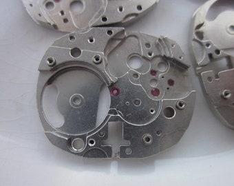 4 Vintage Rhodium-Plated Brass Watch Parts, Dead Stock Elgin Watch Co., 24mm x 19.5mm