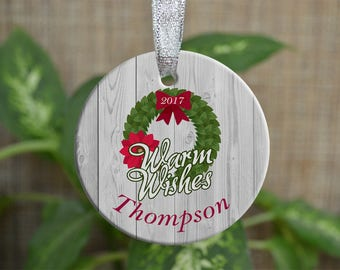 Personalized Christmas Ornament, Our Christmas as a family ornament, Custom Christmas Ornament, Warm wish ornament, Christmas gift. o82