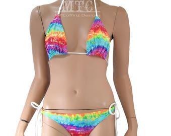 Neon Rainbow Watercolor Glitter Bikini Bra Top Bottom Tie Waisted Rave Set MTCoffinz - Choose Size (Separates available)
