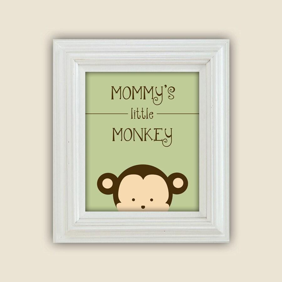 Mommy\'s Little Monkey Printable Peekaboo Wall Art Digital