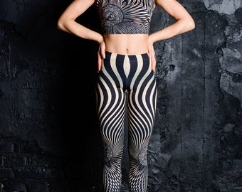 Psychedelic leggings, printed leggings, striped leggings, women leggings, festival clothing, rave outfit, Festival wear,burning man clothing