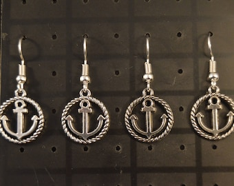 Two Pairs ANCHOR EARRINGS  Fashion Jewelry  Brand New!  boat sea ocean marine maritime fish fishing boating sailing swimming  silver color