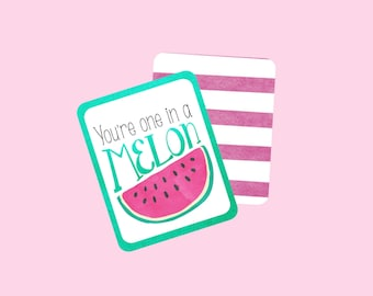 You're One In a Melon Watermelon Gift Tag, Favor Tag, Thank You Tag, Teacher's Gift Tag. Instant Digital Download. Watermelon, Watercolor