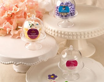 50 Personalized Medium size Cake Stand Plastic Box Favors - Set of 50