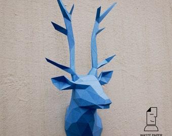 papercraft elephant head 2 printable diy template. Black Bedroom Furniture Sets. Home Design Ideas