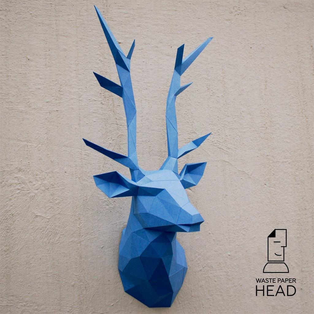 papercraft deer head 1 printable diy template. Black Bedroom Furniture Sets. Home Design Ideas