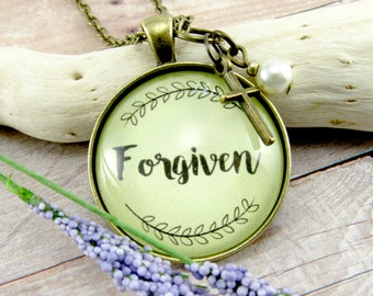 Forgiven Faith Pendant Survivor Necklace Because God is Good and Gives Forgiveness so Just Breath, Recovery Gift Faith Pendant or Keychain