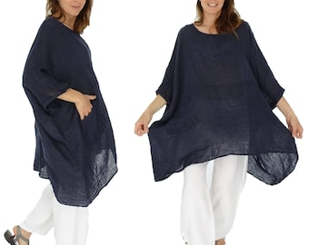 HZ800DBL ladies tunic poncho blouse linen gauze layered look one size blue size 42, 44, 46, 48, 50, 52, 54