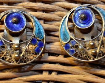 Vintage Chinese Export Blue Clip Back Earrings,Enamel,Singed 800 Silver,Gold-Wash,3 D ,Filigree  Wirework Mesh