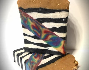 Karma Scented, handmade soap, artisan soap, cold processed soap, rainbow soap