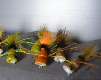 Frog popper assortment (6)- Bass flies- Fly Fishing