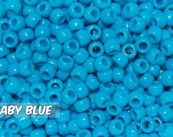Baby Blue Opaque 6x9 mm Barrel Pony Beads
