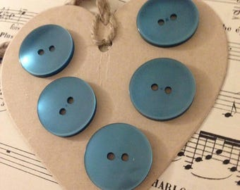 5 large TURQUOISE buttons
