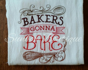 bakers gonna bake decorative kitchen towel - Bakers Gonna Bake Kitchen Redwork Embroidery Designs