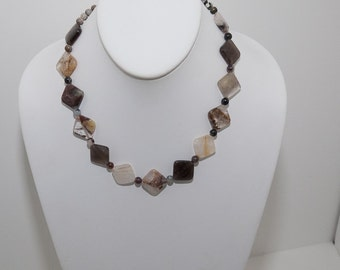 Opal Quartz  and Silver leaf Jasper Necklace