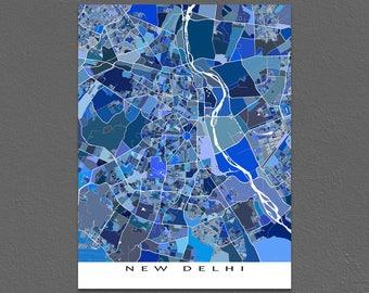 New Delhi Map Print, New Delhi India, City Art Maps