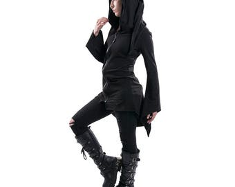 DSF Nite Mage Hoodie - Gothic - Industrial - Futurewear - Cyberpunk DSFusion Wizard Basic witch aesthetic Dark Wrap Flowing Cape