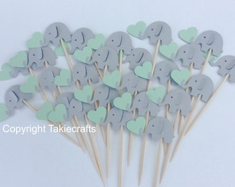 24 elephant cupcake toppers gray and Mint Green - Party Picks - Cupcake Toppers Baby Shower - Food Picks
