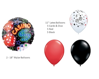 Casino Mylar Balloons with Cards & Dice, Red and Black Latex Balloons