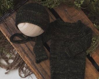 Romper & Bonnet set knit newborn photography prop