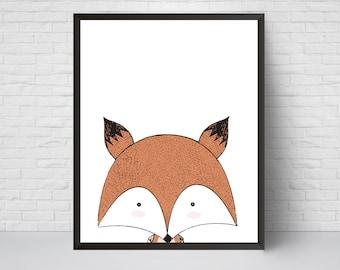 Fox Nursery Print, Deer Art, Scandinavian Modern Kids Room Decor, Large Print, Minimalist Poster, Woodland, Baby Shower, Animal Art