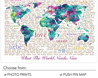 World Map Typography Art, Pink, Aqua & Turquoise, World Map Wall Art Print, Love in Different Languages, Map with no borders, Love Art Print