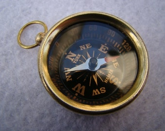 Brass Pocket Compass - Necklace Pendant Charm - Old Vintage Antique Style - Nautical Maritime Gift