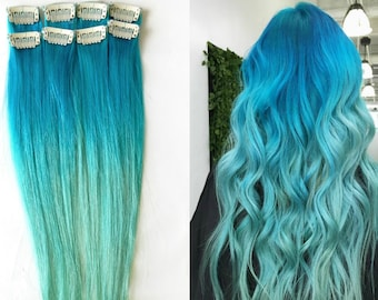 Mermaid Ombre Human Hair Extensions (1 pc.): Blue Ombre Hair, Clip In Extensions, Aqua Green Ombre, Set of Extensions, Teal Hair, Mint Hair