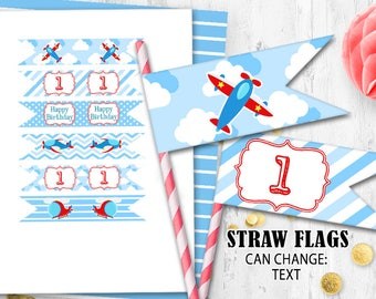 Airplane Straw flags Cupcake toppers Pilot straw flags Pilot birthday party Airplane birthday party toppers