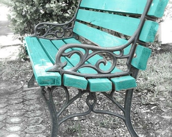 """Garden Bench Photo, Bench Art, Turquoise Print, Rustic Cottage Farmhouse Art, Blue Bench, Abstract Park Bench Still Life- """"Waiting in Vain"""""""