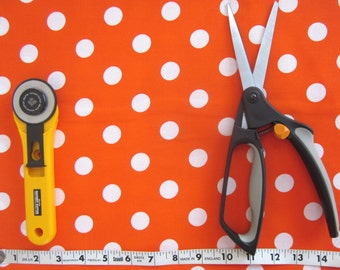 Orange and White Polka Dot Fabric, Half yard