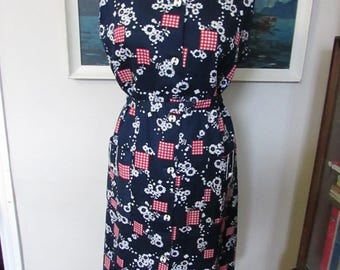 1960s Indriss red/white/blue Modette shift dress with original tags, size 16