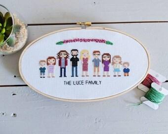 Custom Family Cross Stitch 6+