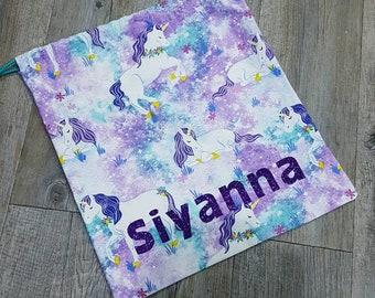 Personalised Unicorn Library bag | unicorn library bag | rainbow unicorn bag | monogrammed library bag | purple unicorn bag | drawstring bag