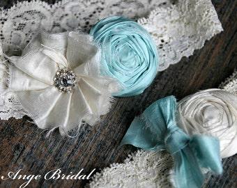 Wedding Garter Set, Garter Set, Mint Wedding Garter, Silk Garter Set, Bridal Garter/ Silk/Vintage Wedding Garter