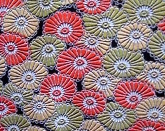 SF1179 Vintage Japanese Autumn Mums on Silk Wool Fabric