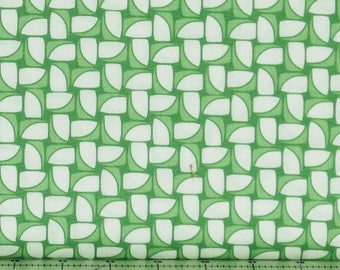 Green and White Geometric Design 100% Cotton Quilt Fabric, Hi-De-Ho!, a Kim's Cause Collection by Maywood Studios, MAS9139-G