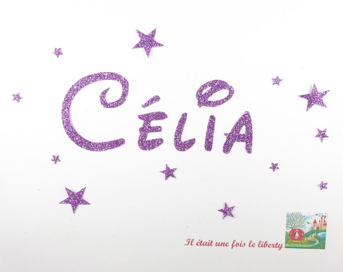 Applied fusible customizable glitter name 5 letters (Celia, example) glitter fabric (colors)