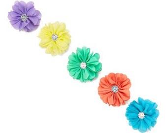Set of 5 Chiffon Flower Hair Clips